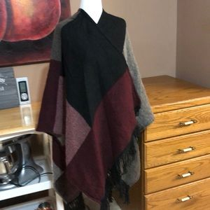Cabin Fever color block shawl with fringes